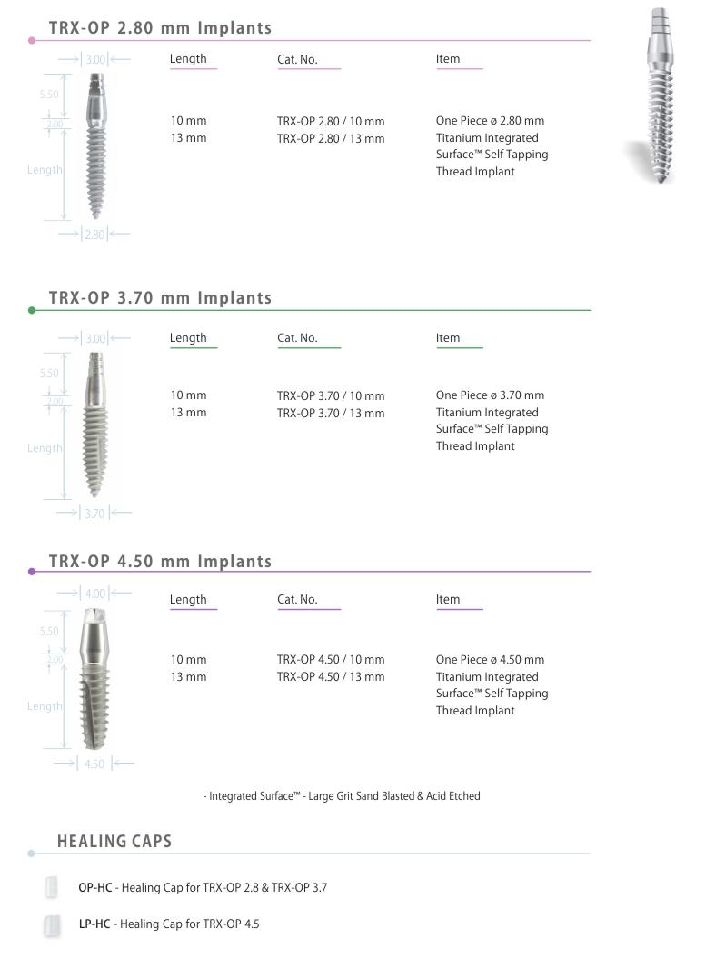 TRX-OP™ - One piece - Immediate Loading Implants